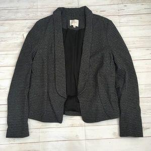 loft womens m black striped cotton blend blazer co